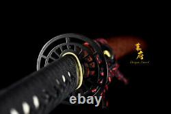 Bataille Prête Clay Tempéré Japonais Samurai Katana T10 Lame De Coupe En Acier Sword