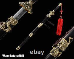 Chinois Plié Steel Gold Crane Ebony Sword Handmade Jian Cut Water Bottles