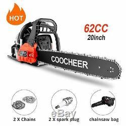 Coocheer 62cc Moteur À Essence Chainsaw 20 Bar Moteur Bois De Coupe 2 Cycle