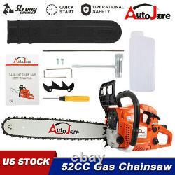 Cordless 20 Bar Gasoline Chainsaw Wood Cutting Gas Saw Crankcase Chain Saw 52cc