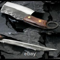 Couteau De Cleaver De Boucher Lourd Épais Forgé En Acier Chop Bone Coupé À La Main En Bois De Tang Complet