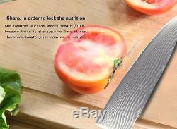 Couteau De Cuisine Japonais Damas Mis En Acier Inoxydable Chef Santoku Coupe Couteaux