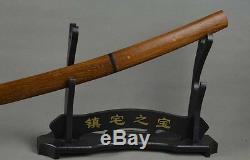 Couteau Katana En Bambou Taillé Dans La Main D'épée De Ninja Fait Main En Acier Au Carbone À Haute Teneur En Carbone