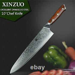Couteaux De Couteau De Chef 10 Pouces Couches Japonaises Damascus Steel Kitchen Sharp Wood Cut
