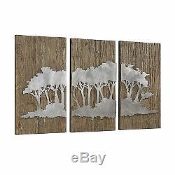De Grands Panneaux En Bois Rustique Laser Cut Fer Brunis Argent Moderne Arbre Wall Art
