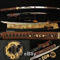 De Véritables Épées De Samouraïs Japonais Au Dragon Katana, Un Dragon Tsuba Tranchant, Peuvent Couper Des Bambous