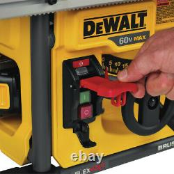 Dewalt Flexvolt Li-ion 8-1/4. Table Saw Kit Avec Batterie Dcs7485t1 Nouveau