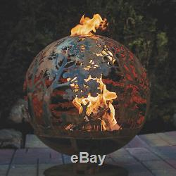 Esschert Design Faune Laser Cut Acier Bois Foyer Globe Rustique Extra Large