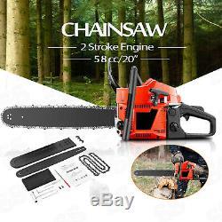 Essence Tronçonneuse De Coupe De Bois Essence Chainsaw 58cc 3.4hp Lame De Scie 1chain Guide