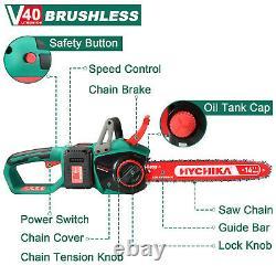 Hychika Tronçonneuse 40v Max Brushless Low Kickback 2pcs 4ah Batteries Coupe De Bois