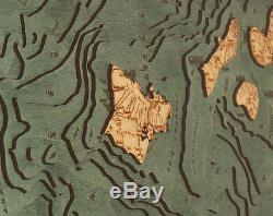 Les Îles Hawaïennes 13,5 X 43 Nouveau Laser-cut 3 Dimen Bois Graphique / Lac Art Carte