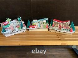 MID Century Modern Christmas Light Up Maisons Ensemble De 3 Maisons Putz Laser Cut