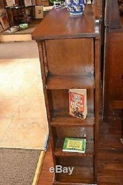 Mission Solide Bibliothèque En Chêne Avec Découpages Et Étagères Latérales Noyer Foncé