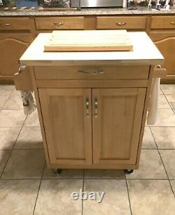 Mobile Kitchen Cart Island Top Solid Wood Cutting Board Block Roues Nouveau
