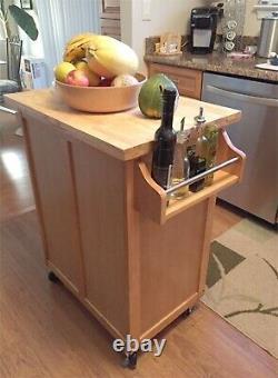 Mobile Kitchen Island Cart Sur Roues Bâton De Boucher En Bois Massif Top Cutting Board