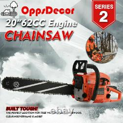 Oppsdecor 62cc Essence Powered Chainsaw 20 Bar Moteur Bois Coupe 2 Cycle