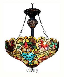 Pendant Light Stained Glass Cut Style Tiffany 18 Ombre Hanging Arrière Plafond