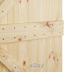 Porte Simple Coulissante Résistante En Bois Noueux Pré-découpée Coulissante Résistante De 36x84inches