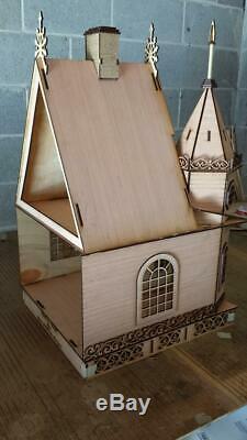 Poupées Maison Miniature 112 Lazer Cut Victorian Cottage Gothic Flat Pack Kit