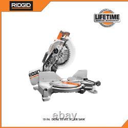 Ridgid Miter Saw Dual Bevel 15 Amp 10 In. Avec Indicateur De Ligne De Coupe Led
