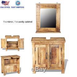 Salle De Bains En Bois Vanity Cabinet 2 Étagères Miroir Ouverture Prédécoupées Pour Un Évier Simple