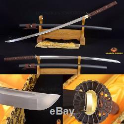 Samouraïs Japonais Épée Katana En Acier Forgé À La Main Damas Can Cut Bamboo De Sharp