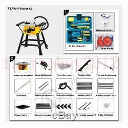 Scies De Table Avec Des Stands 8 Coupe Machine Électrique 1.5kw Bricolage Bois + 2pc Scie À Onglets