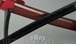 T1095 Noir Haut En Acier Au Carbone Épée Samouraï Japonais Lame Tranchante Katana Arbre Coupé