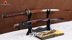 Tang Pleine Main Épée De Samouraï Katana Rouge Plié En Acier Lame Tranchante Arbre Coupé