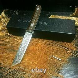 Tanto Knife Japonais Mini Katana Survival Hunting Damascus Steel Fixed Blade Cut
