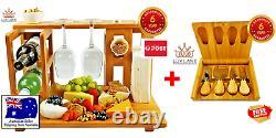 Ultimate Bundle Cheese Board Bamboo Chopping Coupe De Vin De Bois Ensemble De Cadeau De Service