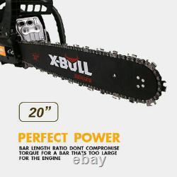 X-bull 62cc Chainsaw 20 Bar Powered Engine 2 Cycle Essence Cutting Wood Yellow