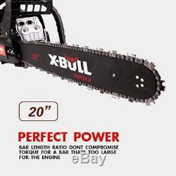 X-bull 62cc Chainsaw Propulsion À Essence 20 Bar Moteur 2 Cycle Bois Noir De Coupe