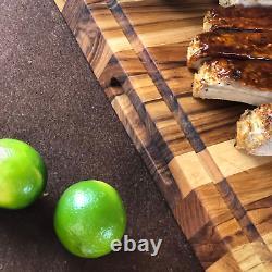 Xxx-grande Planche De Coupe De Bois De Teck Réversible Avec Juice Groove 24 X 18 X 1,5 I